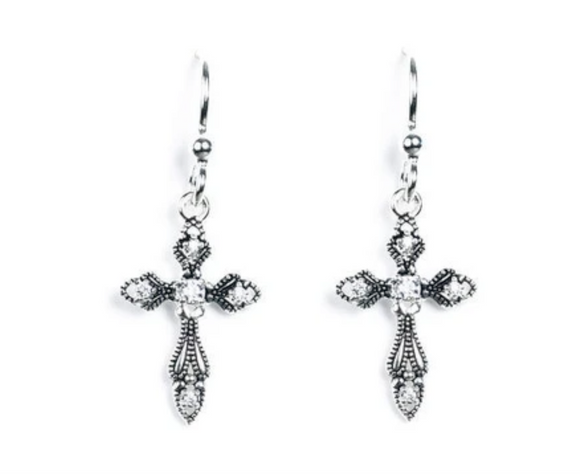 Jody Coyote Spirit Earring Collection : 5 Cubic Zirconia Cross with Ab Finish
