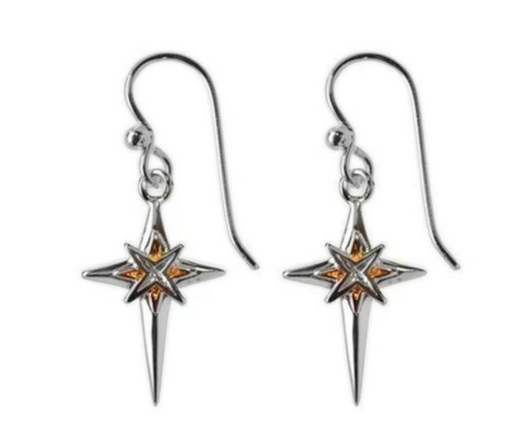 Jody Coyote Joyful Earring Collection: Silver/Gold Cross with Starburst In Center Earring