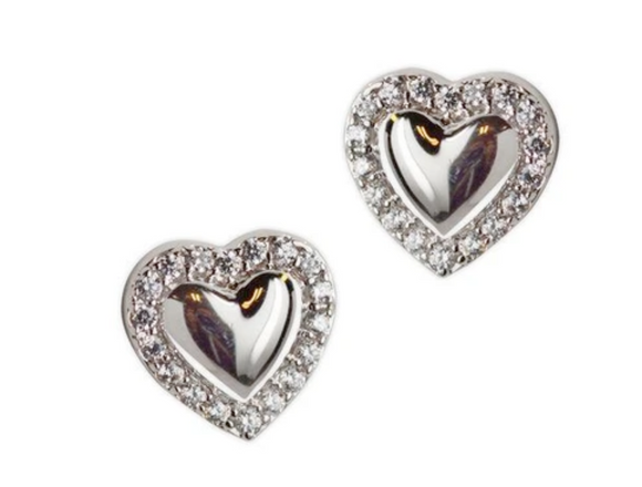 Jody Coyote Guardian Heart Earring Collection: Small Solid Heart Post with Cubic Zirconia Earring