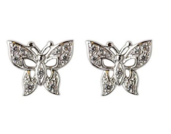 Jody Coyote Guardian Heart Earring Collection: Clear Cubic Zirconia Butterfly Post
