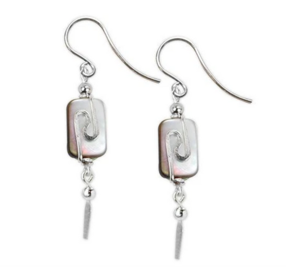Jody Coyote Neo Geo Earring Collection : Mother of Pearl Oval Drop with Silver and Squiggle