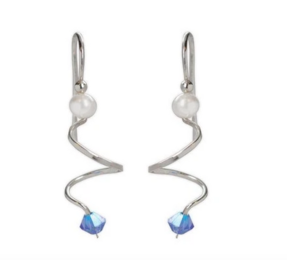 Jody Coyote Entourage Earring Collection: Curl with Blue Crystal