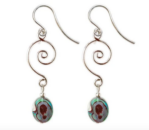 Jody Coyote Neo Geo Earring Collection : Abalone Oval with Silver Spiral Wire