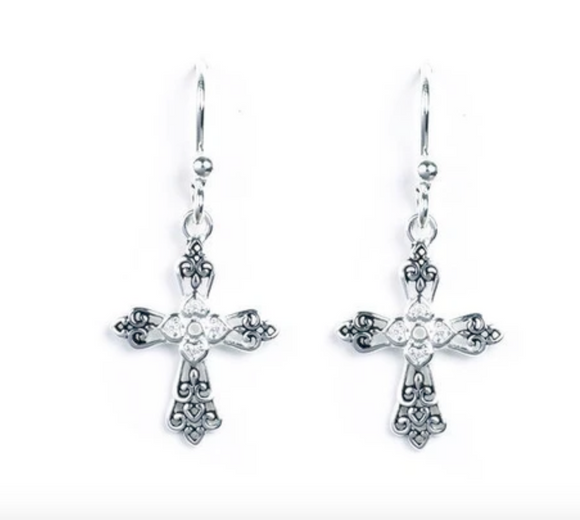 Jody Coyote Spirit Earring Collection : 4 Cubic Zirconia Cross with Ab Finish