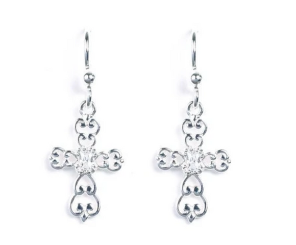 Jody Coyote Spirit Earring Collection : 1 Cubic Zirconia Cross