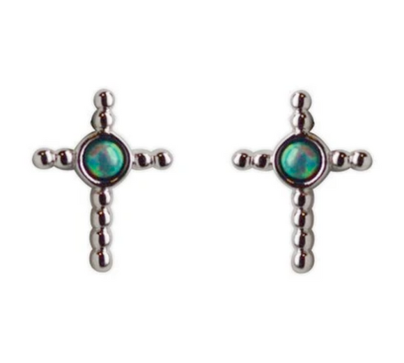 Jody Coyote Guardian Heart Earring Collection: Royal Blue Gray Small Cross Post