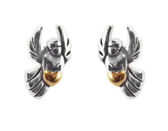 Jody Coyote Guardian Heart Earring Collection: Small Silver/Gold Heart Angel Post