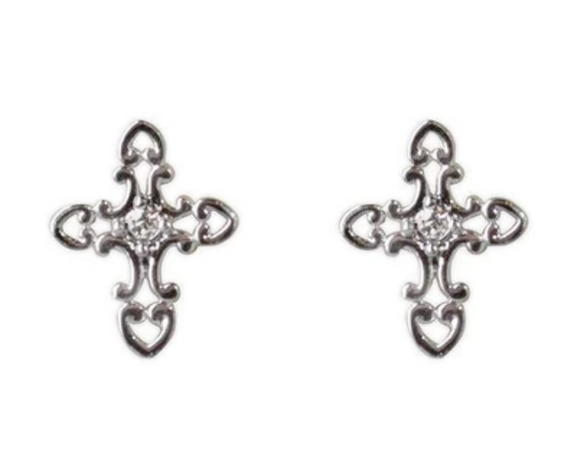Jody Coyote Guardian Heart Earring Collection: Small Clear Cross Post Earring
