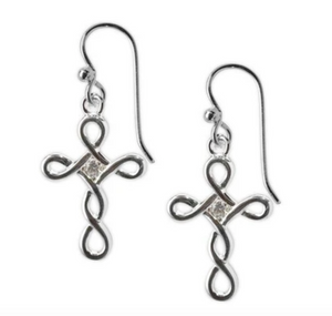 Jody Coyote Tiny Blessings Earring Collection : Open Design Cross and Clear Cubic Zirconia