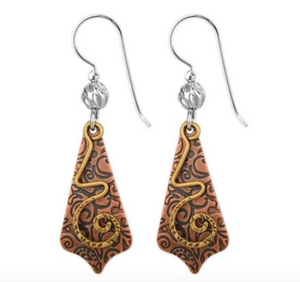 Jody Coyote Ensemble Earring Collection: Brown Etched Pointed Drop Shield with Gold Spiral