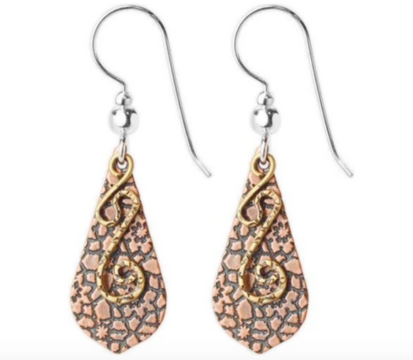 Jody Coyote Ensemble Earring Collection: Brown Etched Pointed Drop Shield with Gold and Squiggle