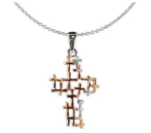 Jody Coyote Distinction Necklace Collection : Tri Tone Open Design Cross