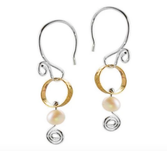 Jody Coyote Sonata Earring Collection: Small Brass Circle with White Bead and Squiggle