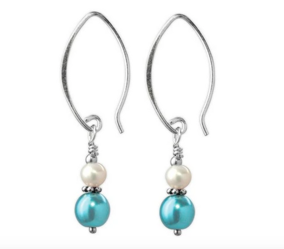 Jody Coyote Fifth Avenue Earring Collection: Mini Metallic Teal and White
