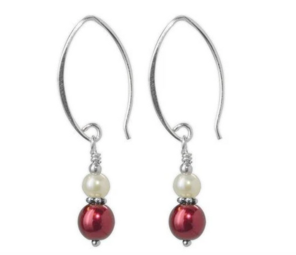 Jody Coyote Fifth Avenue Earring Collection: Mini Metallic Burgundy and White