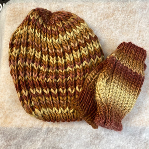 Knit Brown Toned Hat w/Hand Warmer