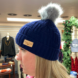 Plush Lined Pom Hat Navy