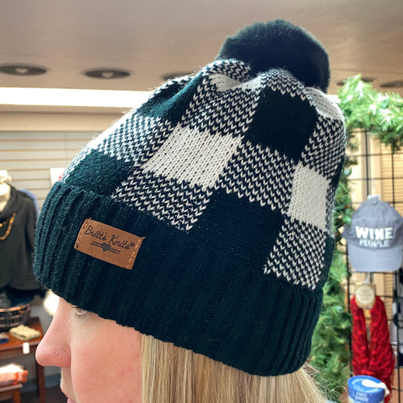 Buffalo Plaid Pom Hat