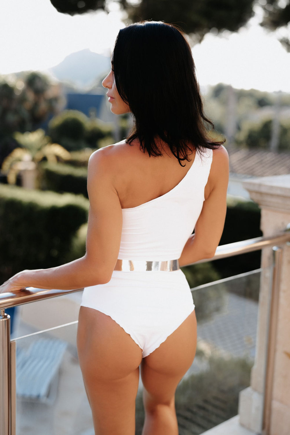 The PORTO CERVO SILVER Swimsuit - Reversible -ECRU/ JUTA GREEN