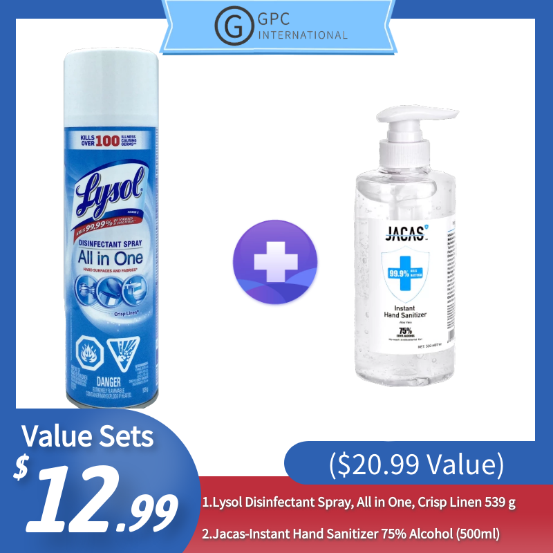 [Best Sellers Set] Lysol Disinfectant Spray(539 g)+ Jacas-Instant Hand Sanitizer 75% Alcohol (500ml)($20.99 Value)