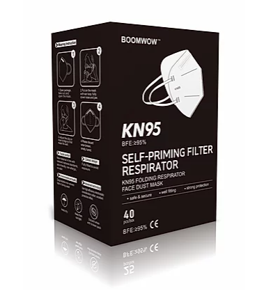 BOOMWOW Self-priming Filter Respirator KN95 Face Dust Mask (5 PCS)
