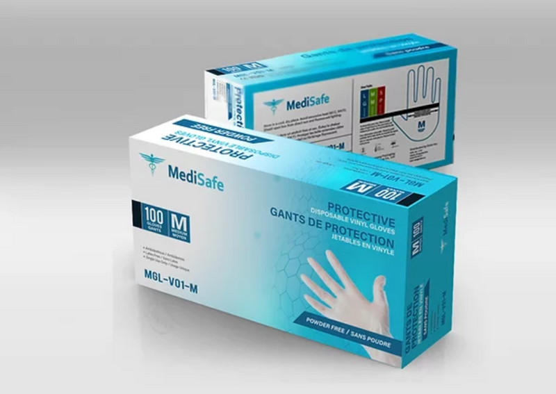 MediSafe Protective Disposable Vinyl Gloves (100 PCS) M/L
