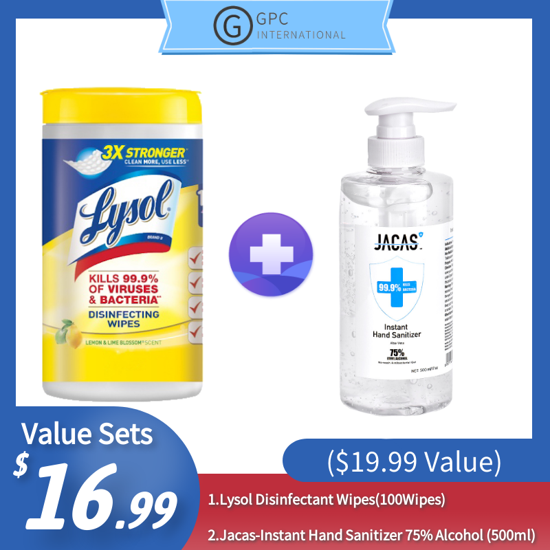 [Best Selling Set] Lysol Disinfectant Wipes(100Wipes)+ Jacas-Instant Hand Sanitizer 75% Alcohol (500ml) ($19.99 Value)