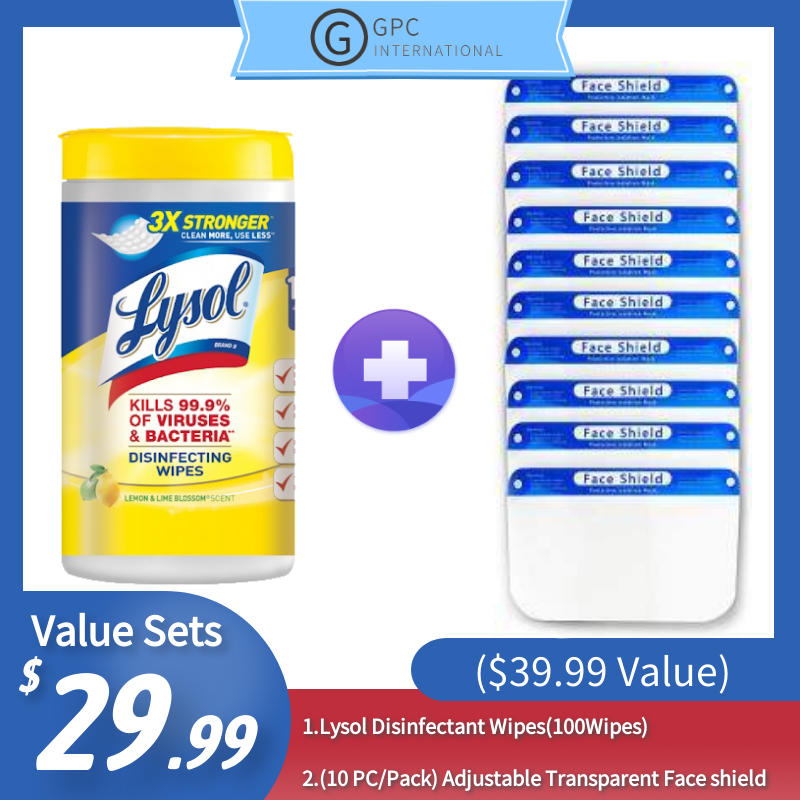 [Best Selling Set] Lysol Disinfectant Wipes(100Wipes)+ Face Shield (10 PCS) ($39.99 Value)