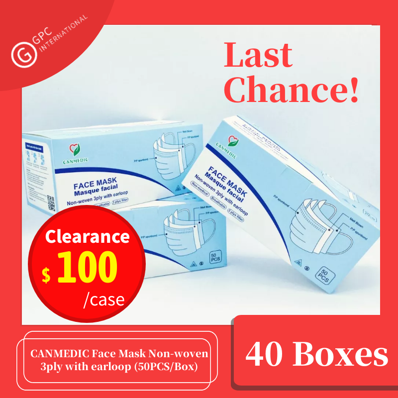【Clearance】40 BOXES-CANMEDIC Face Mask Non-woven 3ply with earloop (50PCS/Box)