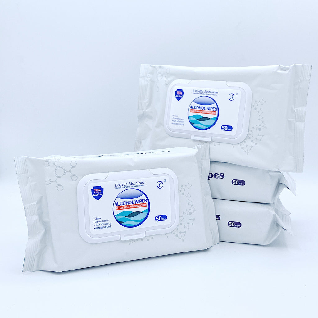 4 Bags/Pack - 75% Alcohol Disinfectant Wet Wipes (4 Bags *50 Wipes)