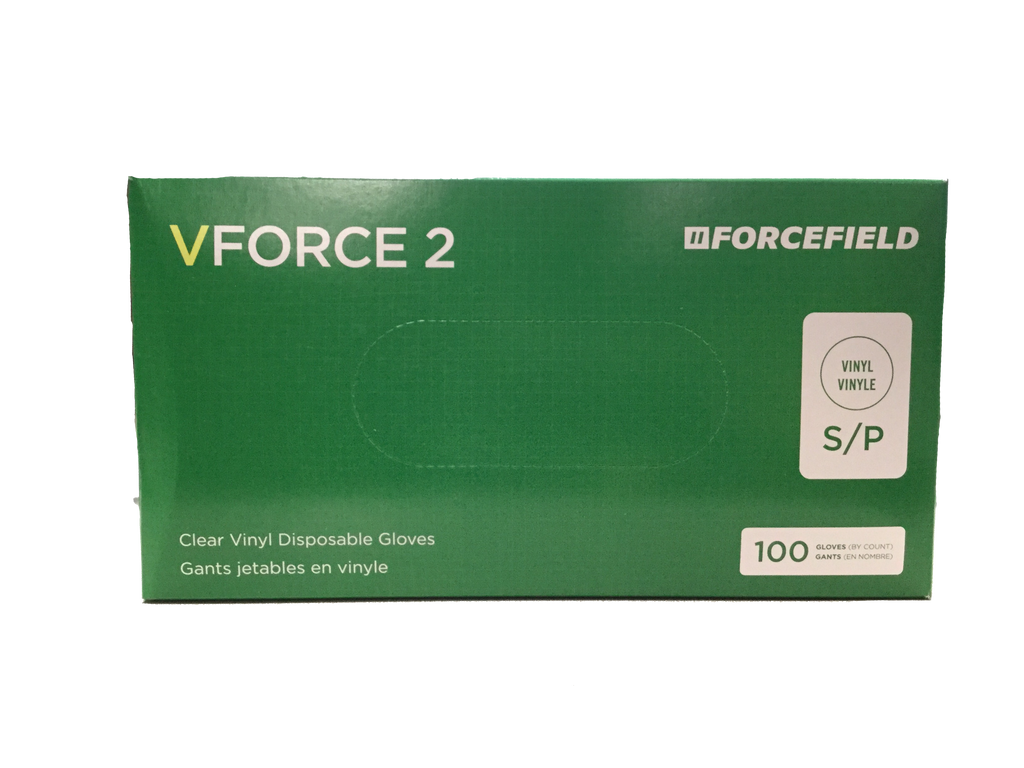 VForce 2 Clear Vinyl Disposable Gloves (100 Gloves) S