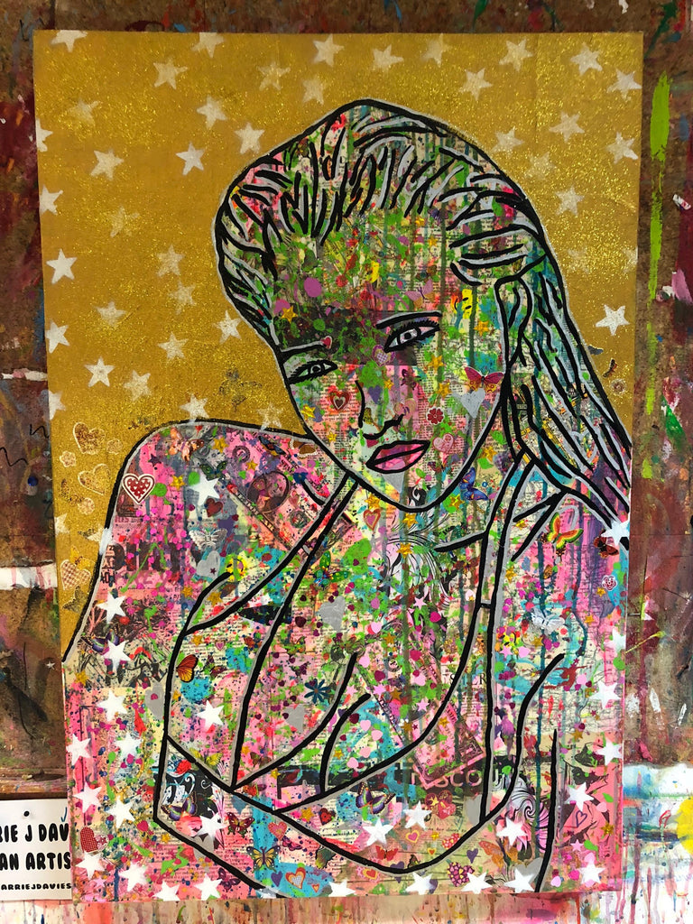 work in progress in the Barrie J Davies studio - the bling paintings