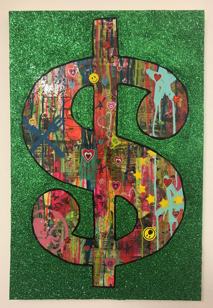 Cash rules Everything Around Me by Barrie J Davies 2019, mixed media on canvas, Unframed, 50cm x 75cm.