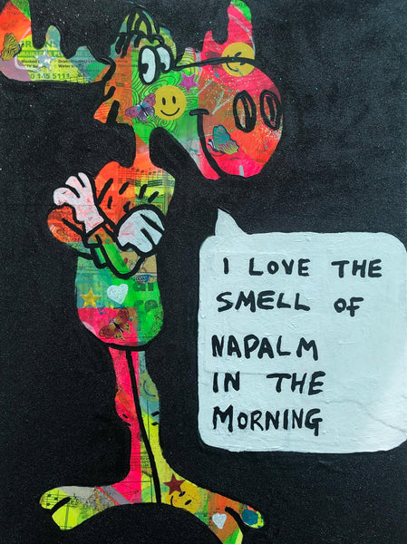 I love the smell of napalm in the morning by Barrie J Davies 2019, mixed media on canvas, unframed, 30cm x 40cm