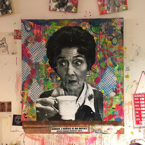 Work in progress in the studio on a new Dot Cotton Painting
