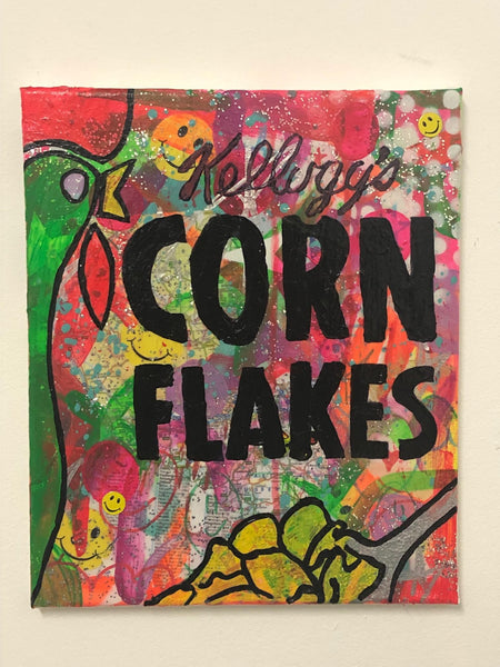 The most important meal of the day by Barrie J Davies 2019, Mixed media on Canvas, 25cm x 30cm, Unframed.