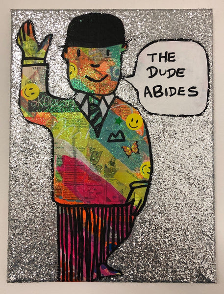 The dude abides by Barrie J Davies 2019, mixed media on canvas, unframed, 30cm x 40cm