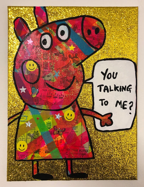 You talking to me? by Barrie J Davies 2019, mixed media on canvas, unframed, 30cm x 40cm.