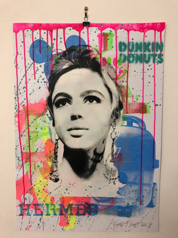 Art Star Print by Barrie J Davies 2020 - unframed Silkscreen print on 300 GSM paper (hand finished) edition of 1/1 - A2 size 42cm x 59.4cm.