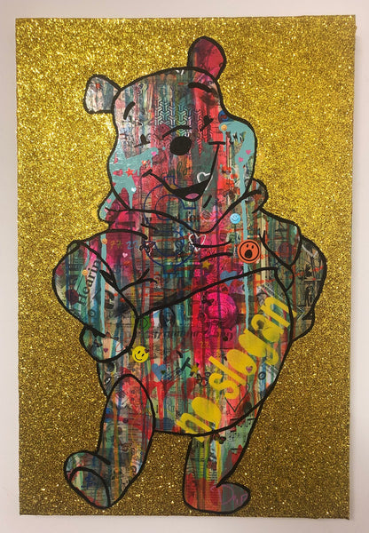 Bear with me by Barrie J Davies 2019, mixed media on canvas, Unframed, 50cm x 75cm.