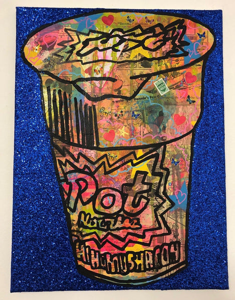 Blue pop noodling by Barrie J Davies 2019, mixed media on canvas, unframed, 30cm x 40cm.