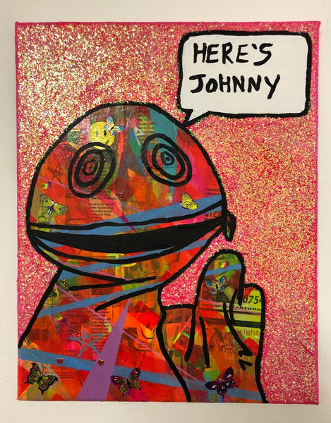 Here's Johnny by Barrie J Davies 2019, mixed media on canvas, unframed, 35cm x 28cm