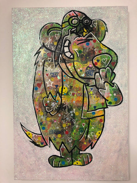 I wanna be your dog! by Barrie J Davies 2019, mixed media on canvas, Unframed, 50cm x 75cm.