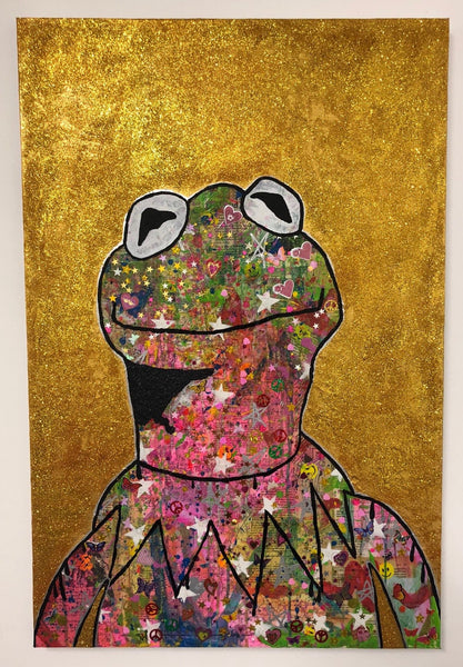 Peace Frog by Barrie J Davies 2018, mixed media on canvas, Unframed, 60cm x 100cm.