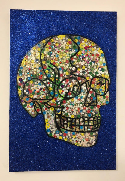 Skull Attack by Barrie J Davies 2019, mixed media on canvas, Unframed, 50cm x 75cm.