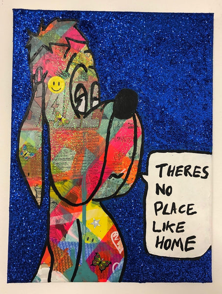 There's no place like home by Barrie J Davies 2019, mixed media on canvas, unframed, 30cm x 40cm