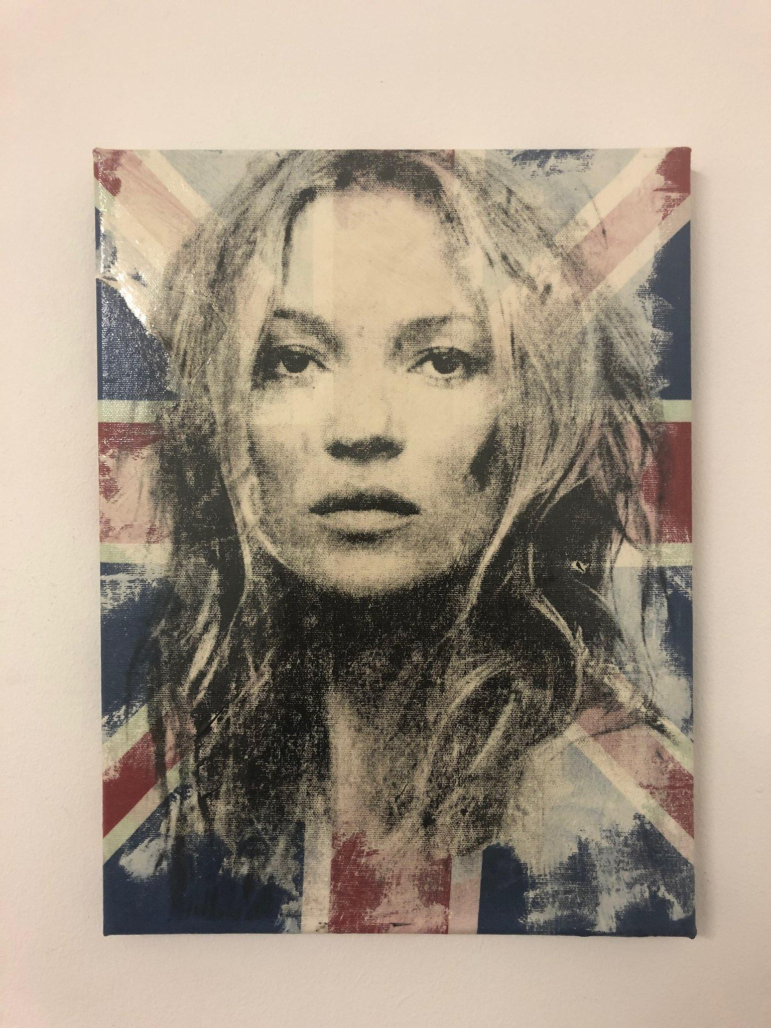 Brit Pop Kate by Barrie J Davies 2019, mixed media on canvas, unframed, 30cm x 40cm. Barrie J Davies is an Artist - Pop Art and Street art inspired Artist based in Brighton England UK - Pop Art Paintings, Street Art Prints & Editions available