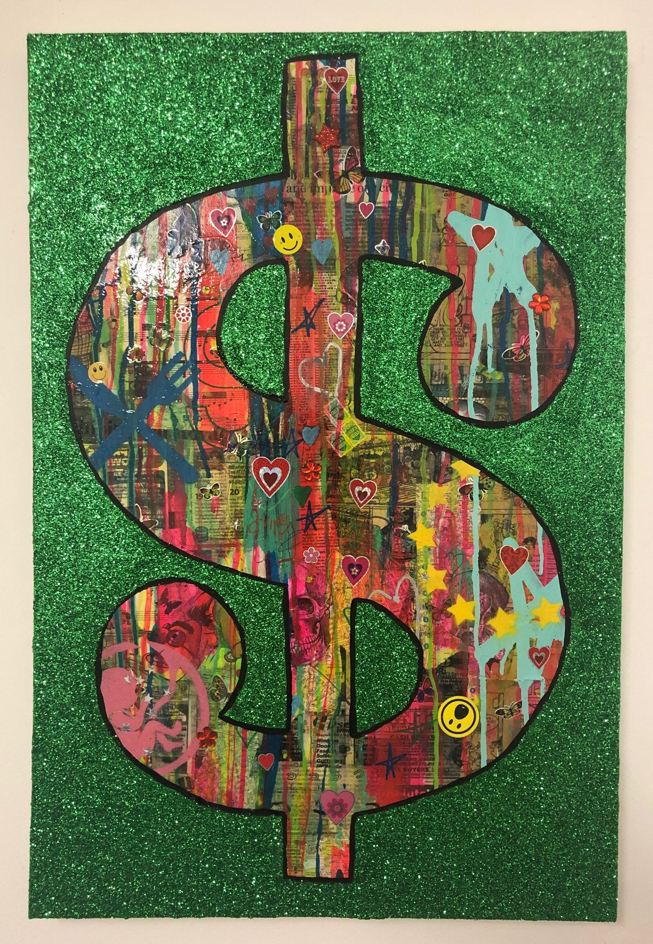 Cash rules Everything Around Me by Barrie J Davies 2019, mixed media on canvas, Unframed, 50cm x 75cm. Barrie J Davies is an Artist - Pop Art and Street art inspired Artist based in Brighton England UK - Pop Art Paintings, Street Art Prints & Editions available.