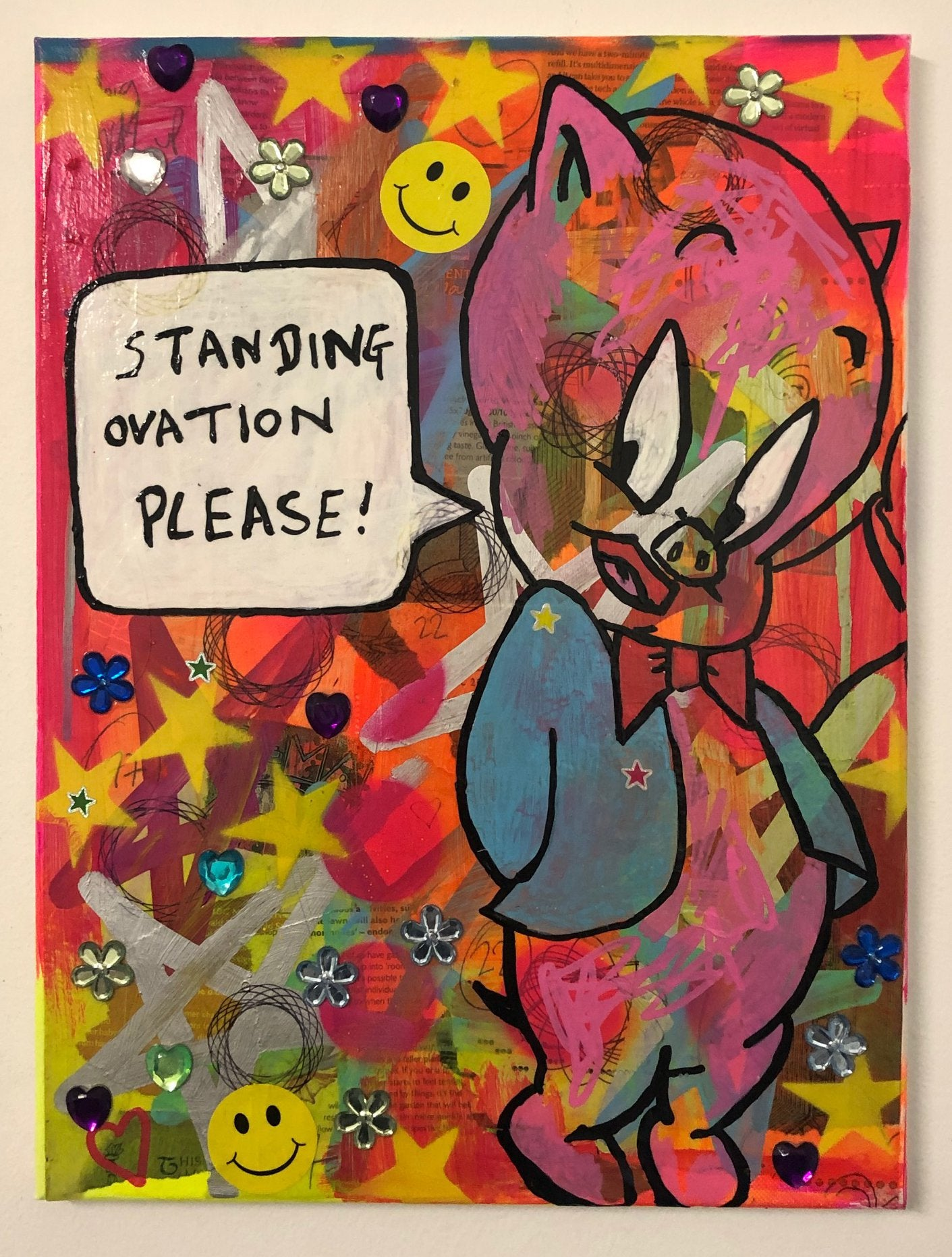 Clapping by Barrie J Davies 2020, mixed media on canvas, unframed, 30cm x 40cm. Barrie J Davies is an Artist - Pop Art and Street art inspired Artist based in Brighton England UK - Pop Art Paintings, Street Art Prints & Editions available