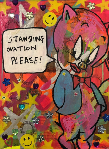 Clapping by Barrie J Davies 2020, mixed media on canvas, unframed, 30cm x 40cm. Barrie J Davies is an Artist - Pop Art and Street art inspired Artist based in Brighton England UK - Pop Art Paintings, Street Art Prints & Editions available.